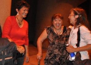 Eila Paul, Mauri Elder (center), is ecstatic to arrive - With Moetu Taha (left)